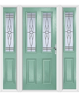 The Cardiff Composite Door in Green (Chartwell) with Crystal Harmony Frost and matching Side Panels