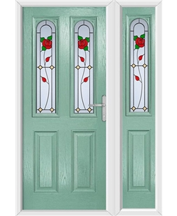 The Aberdeen Composite Door in Green (Chartwell) with English Rose and matching Side Panel