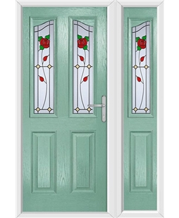 The Birmingham Composite Door in Green (Chartwell) with English Rose and matching Side Panel
