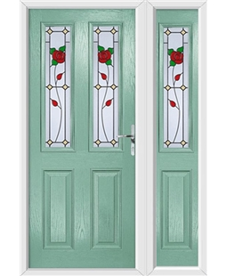 The Cardiff Composite Door in Green (Chartwell) with English Rose and matching Side Panel