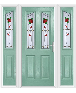 The Birmingham Composite Door in Green (Chartwell) with English Rose and matching Side Panels