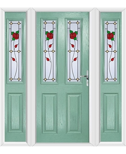 The Cardiff Composite Door in Green (Chartwell) with English Rose and matching Side Panels