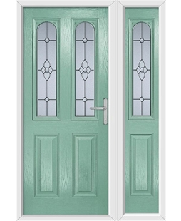 The Aberdeen Composite Door in Green (Chartwell) with Finesse Glazing and matching Side Panel