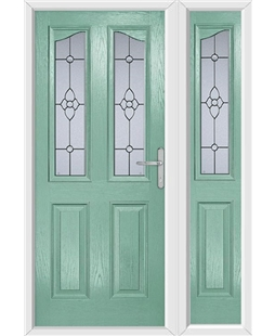 The Birmingham Composite Door in Green (Chartwell) with Finesse Glazing and matching Side Panel