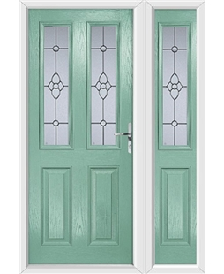 The Cardiff Composite Door in Green (Chartwell) with Finesse Glazing and matching Side Panel