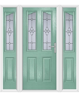 The Birmingham Composite Door in Green (Chartwell) with Finesse Glazing and matching Side Panels