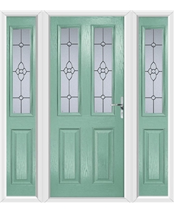 The Cardiff Composite Door in Green (Chartwell) with Finesse Glazing and matching Side Panels