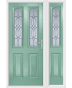 The Aberdeen Composite Door in Green (Chartwell) with Flair Glazing and matching Side Panel