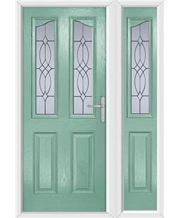 The Birmingham Composite Door in Green (Chartwell) with Flair Glazing and matching Side Panel