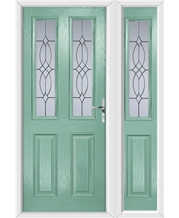 The Cardiff Composite Door in Green (Chartwell) with Flair Glazing and matching Side Panel