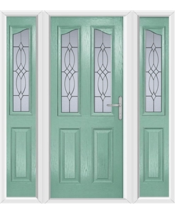 The Birmingham Composite Door in Green (Chartwell) with Flair Glazing and matching Side Panels