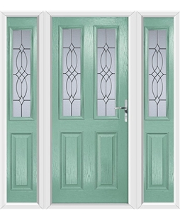 The Cardiff Composite Door in Green (Chartwell) with Flair Glazing and matching Side Panels