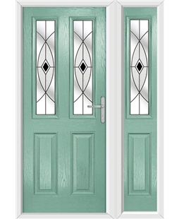 The Cardiff Composite Door in Green (Chartwell) with Black Fusion Ellipse and matching Side Panel
