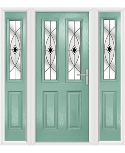 The Cardiff Composite Door in Green (Chartwell) with Black Fusion Ellipse and matching Side Panels