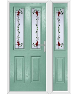 The Birmingham Composite Door in Green (Chartwell) with Mackintosh Rose and matching Side Panel