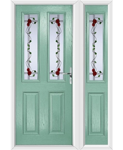 The Cardiff Composite Door in Green (Chartwell) with Mackintosh Rose and matching Side Panel
