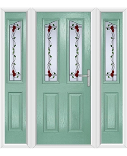 The Birmingham Composite Door in Green (Chartwell) with Mackintosh Rose and matching Side Panels
