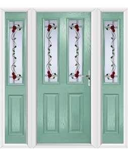 The Cardiff Composite Door in Green (Chartwell) with Mackintosh Rose and matching Side Panels