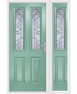 The Aberdeen Composite Door in Green (Chartwell) with Zinc Art Abstract and matching Side Panel