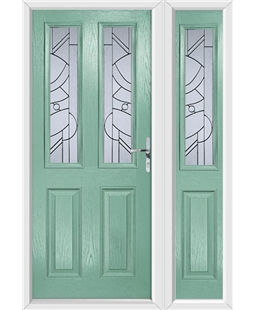 The Cardiff Composite Door in Green (Chartwell) with Zinc Art Abstract and matching Side Panel