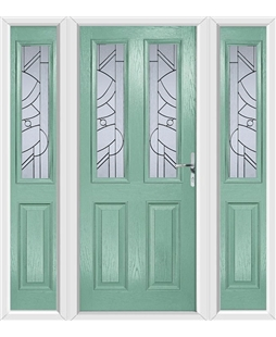 The Cardiff Composite Door in Green (Chartwell) with Zinc Art Abstract and matching Side Panels