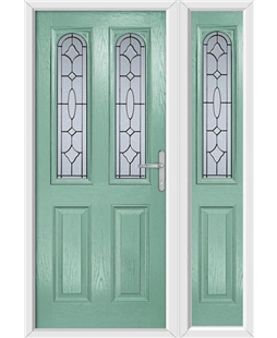 The Aberdeen Composite Door in Green (Chartwell) with Zinc Art Clarity and matching Side Panel