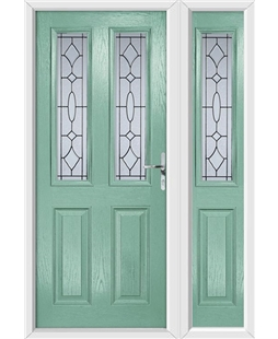 The Cardiff Composite Door in Green (Chartwell) with Zinc Art Clarity and matching Side Panel