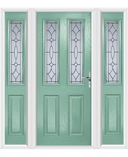 The Cardiff Composite Door in Green (Chartwell) with Zinc Art Clarity and matching Side Panels