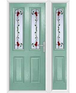 The Aberdeen Composite Door in Green (Chartwell) with Mackintosh Rose and matching Side Panel