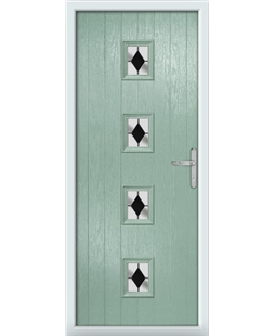The Uttoxeter Composite Door in Green (Chartwell) with Black Diamonds