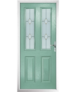 The Cardiff Composite Door in Green (Chartwell) with Classic Glazing