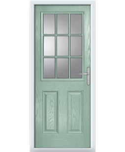 The Kettering Composite Door in Green (Chartwell) with Clear Glazing