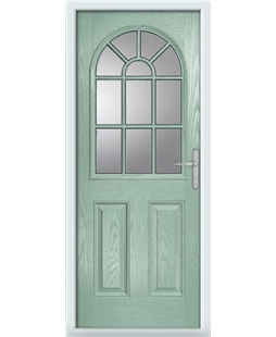 The Leeds Composite Door in Green (Chartwell) with Clear Glazing