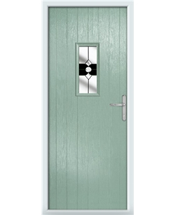 The Taunton Composite Door in Green (Chartwell) with Black Crystal Bohemia