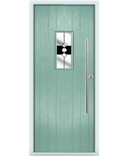 The Zetland Composite Door in Green (Chartwell) with Black Crystal Bohemia