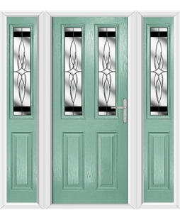 The Cardiff Composite Door in Green (Chartwell) with Black Crystal Harmony and matching Side Panels