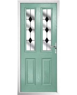 The Cardiff Composite Door in Green (Chartwell) with Black Diamonds