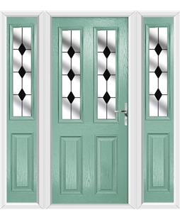 The Cardiff Composite Door in Green (Chartwell) with Black Diamonds and matching Side Panels