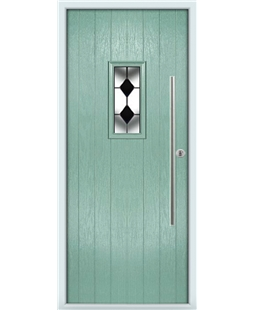 The Zetland Composite Door in Green (Chartwell) with Black Diamonds
