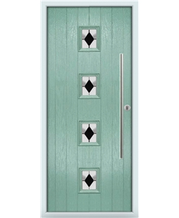 The Leicester Composite Door in Green (Chartwell) with Black Diamonds