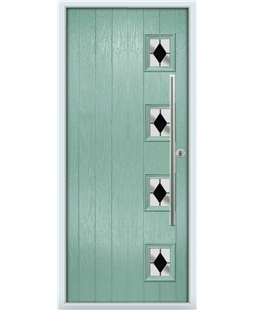 The Norwich Composite Door in Green (Chartwell) with Black Diamonds