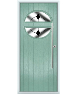 The Xenia Composite Door in Green (Chartwell) with Black Diamonds