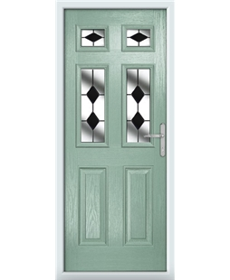 The Oxford Composite Door in Green (Chartwell) with Black Diamonds