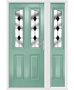 The Birmingham Composite Door in Green (Chartwell) with Black Diamonds and matching Side Panel