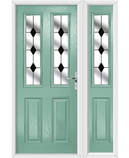 The Cardiff Composite Door in Green (Chartwell) with Black Diamonds and matching Side Panel