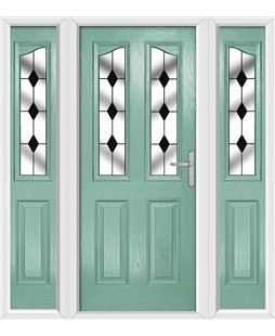 The Birmingham Composite Door in Green (Chartwell) with Black Diamonds and matching Side Panels
