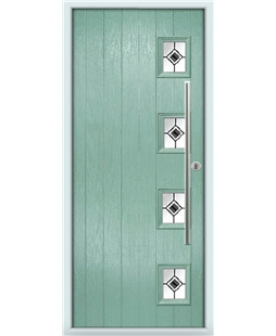 The Norwich Composite Door in Green (Chartwell) with Black Fusion Ellipse