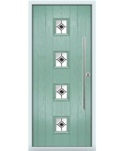 The Leicester Composite Door in Green (Chartwell) with Black Fusion Ellipse