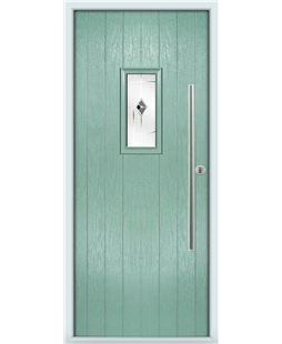 The Zetland Composite Door in Green (Chartwell) with Black Murano
