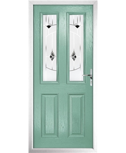 The Cardiff Composite Door in Green (Chartwell) with Black Murano